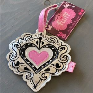 Fluff heart embroidered brand new luggage tag!